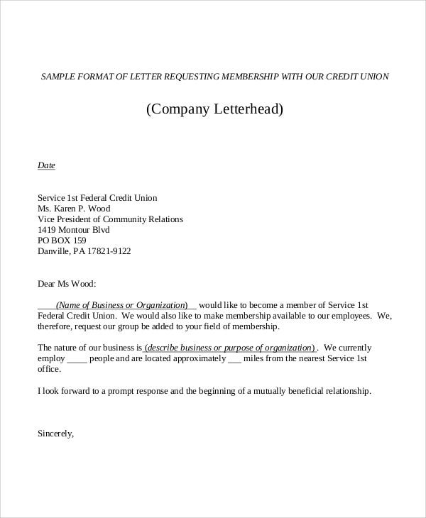 membership application letter format
