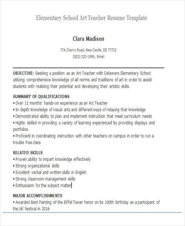 Elementary School Art Teacher  Teacher Resume Templates