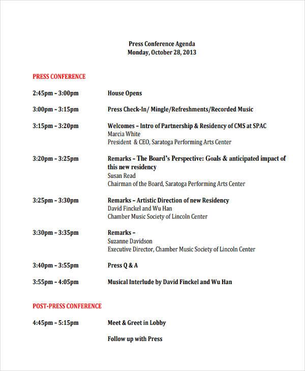 press conference agenda format