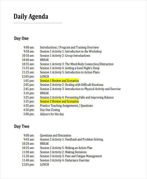 Itinerary Template in PDF