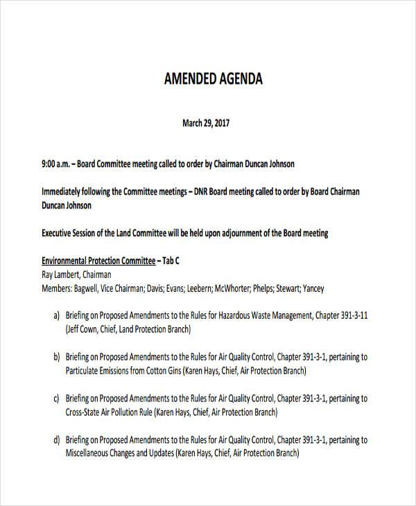 Standard Agenda Format Sample
