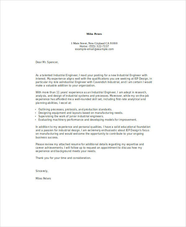 industrial engineer job application letter1