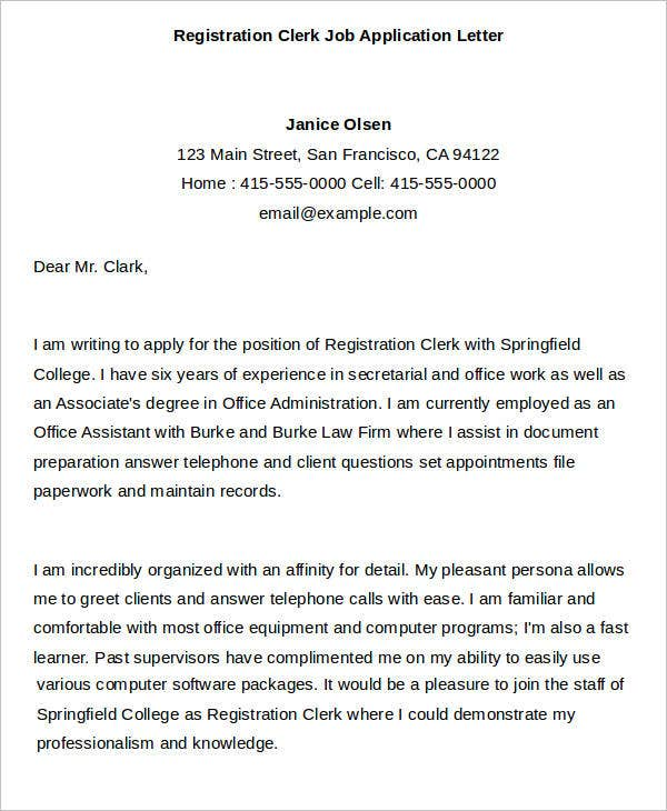 Registration Clerk Job Application Letter