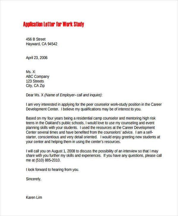 21+ Sample Work Application Letters - Free Sample, Example Format