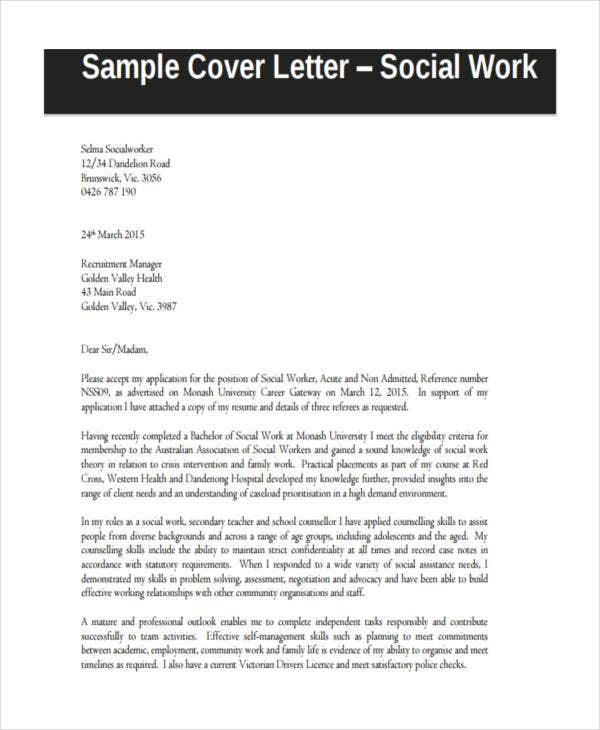 social work application letter