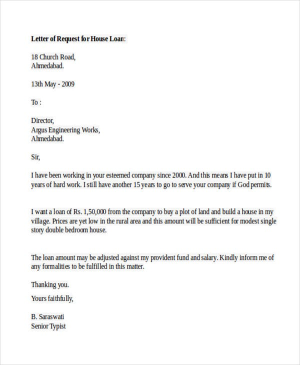 home loan application letter