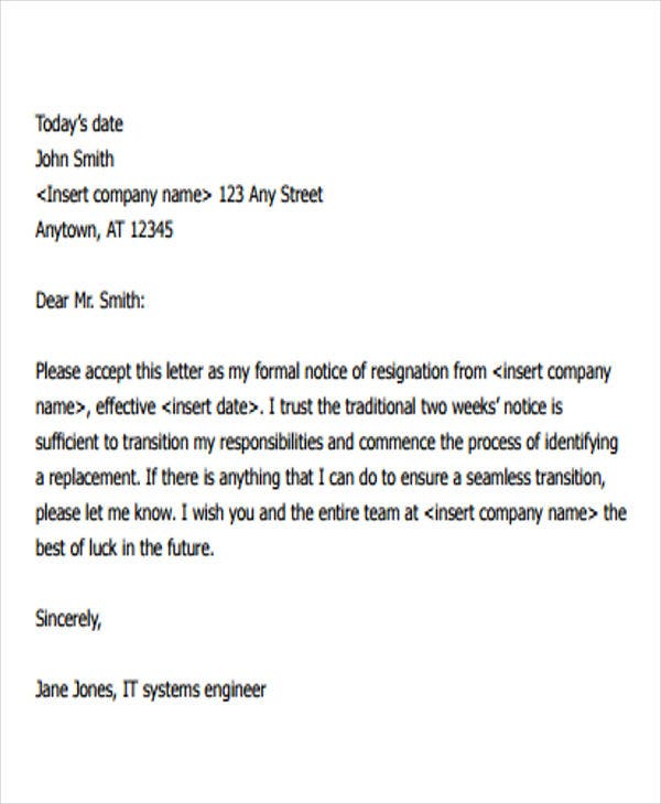 Formal Resignation Letter With Two Weeks Notice Period  Best Resignation Letter