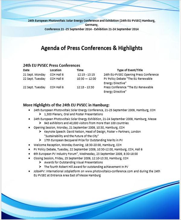 free conference agenda