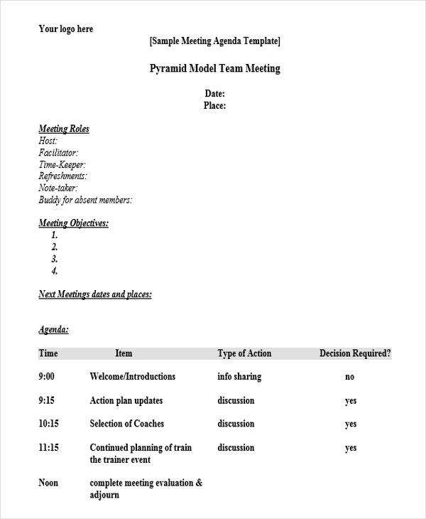 free blank agenda template