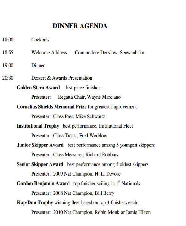 formal dinner agenda