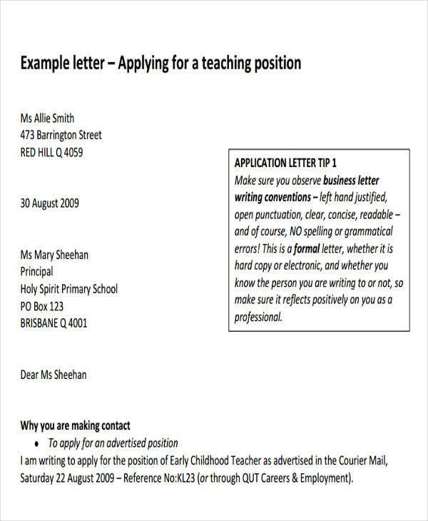 formal letter of application for a teaching job
