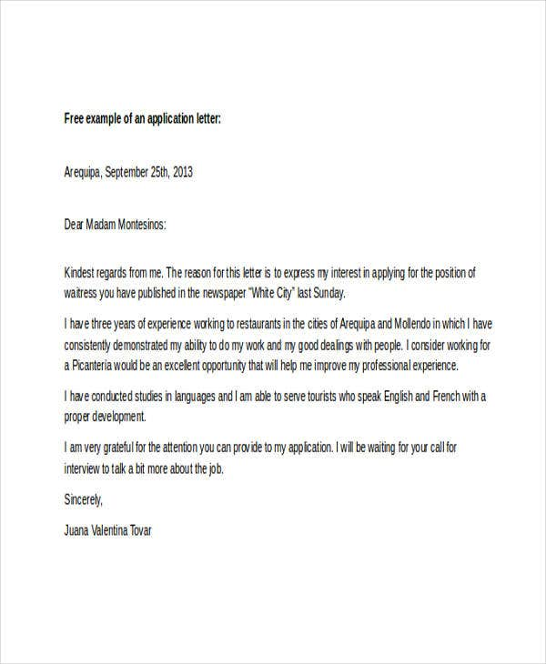 21+ Sample Work Application Letters - Free Sample, Example Format ...