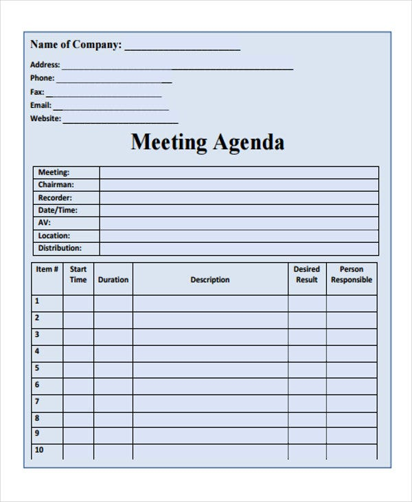 blank agenda format