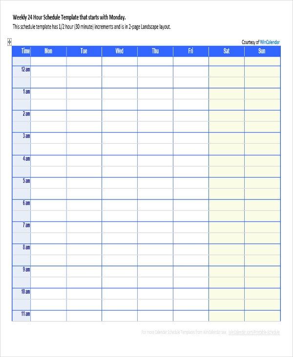 weekly calendar agenda template