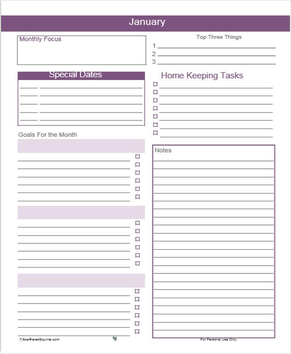 monthly calendar agenda template