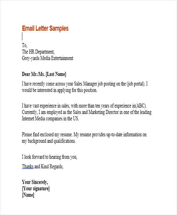 Sample Email Application Letters  Free  Premium Templates