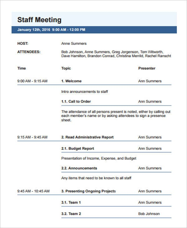 word meeting agenda template