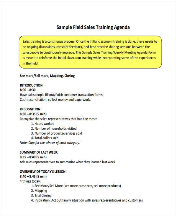 field sales training agenda
