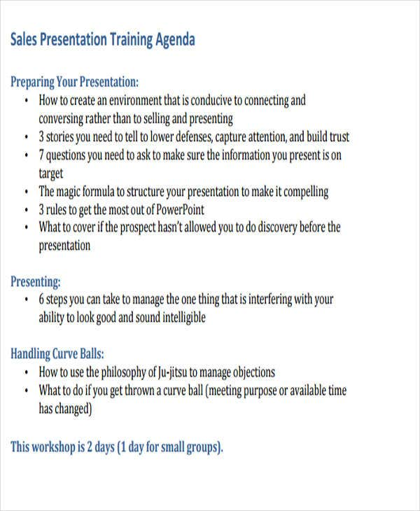 Sales Presentation Training Agenda