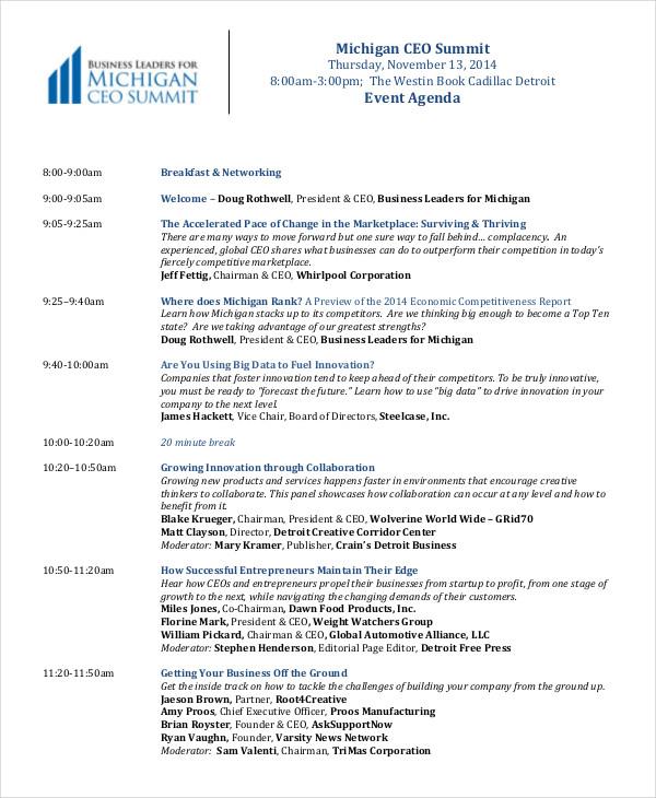 Corporate Event Agenda