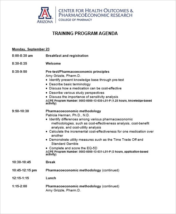 training program agenda