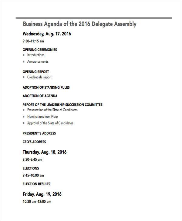 Delegate Formal Business