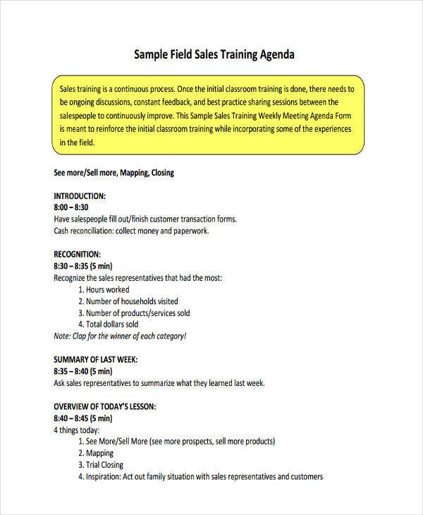 Sample Field Sales Training