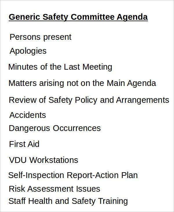 Generic Safety Committee Agenda