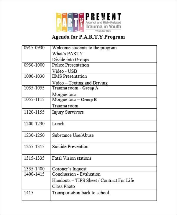 party program agenda