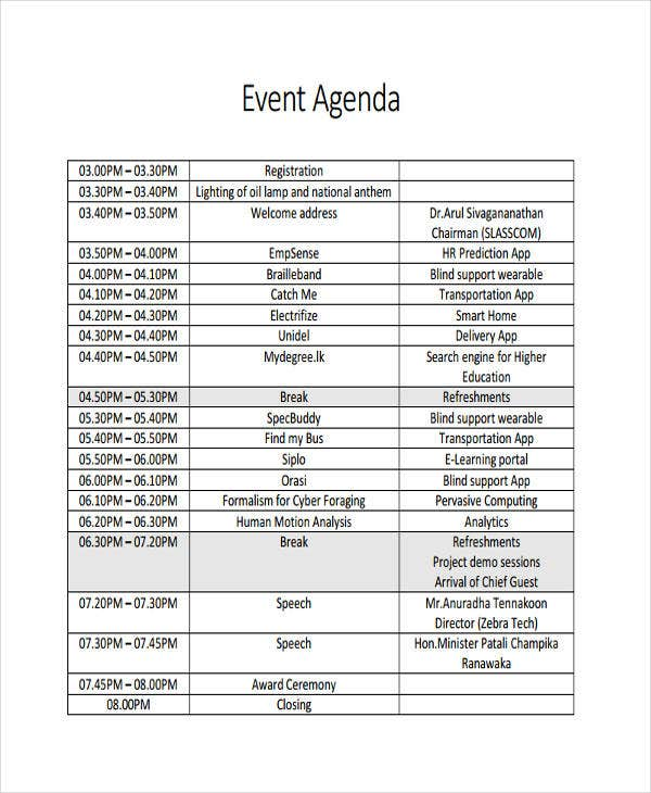 56 Agenda Templates and Examples – Event Agenda Sample