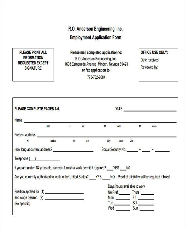 engineering job application form in pdf