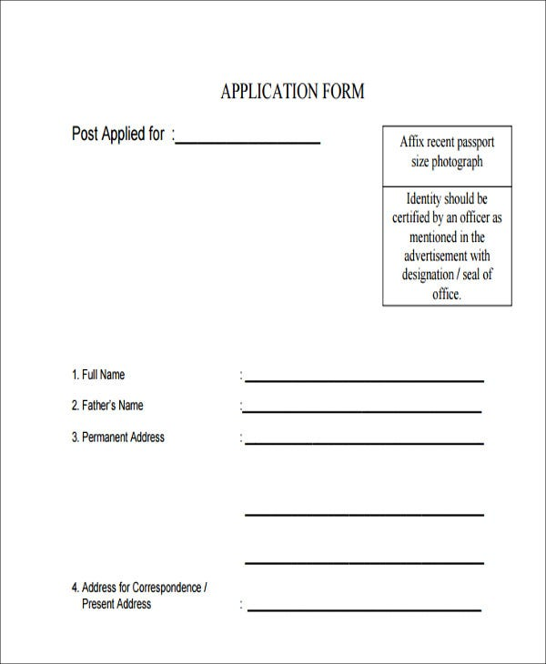 standard job application form in pdf