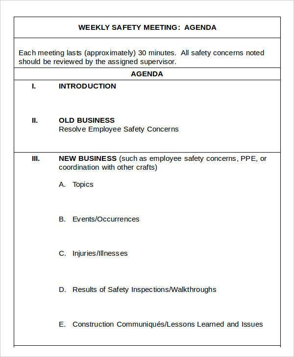 Safety Agenda Templates  Free Sample Example Format Download