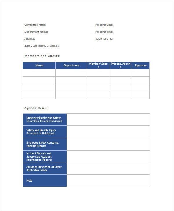 Safety Agenda Planner Template