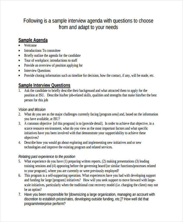 Sample Interview Needs