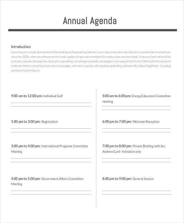 17 agenda planner templates free premium templates for Annual corporate minutes template free
