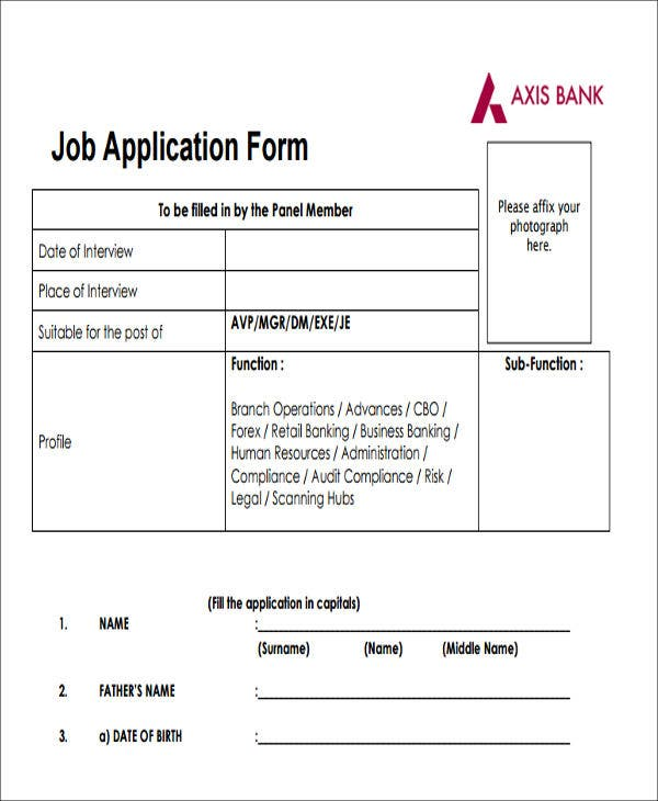 bank job application form in pdf
