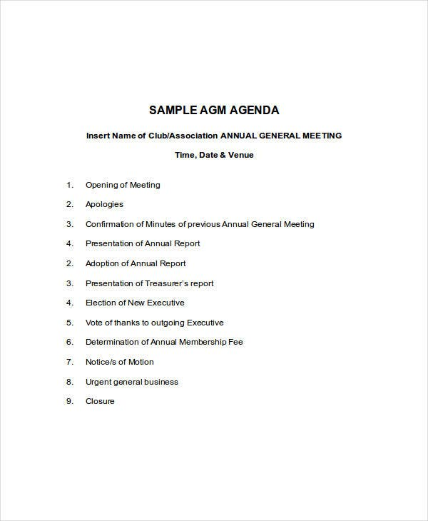 10 meeting agenda samples free sample example format download annual general meeting agenda pronofoot35fo Images