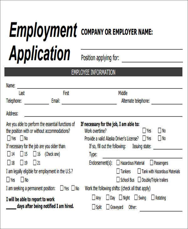 Job Application Form Pdf