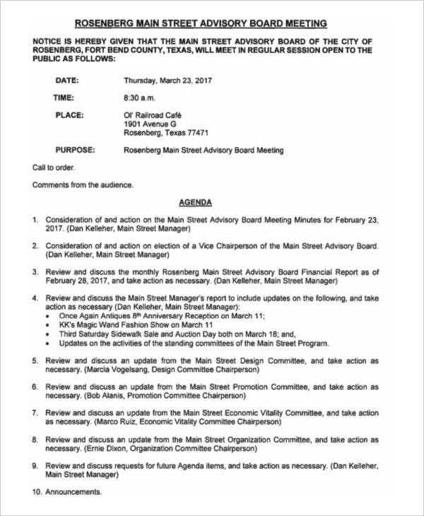 advisory board meeting agenda template financial meeting agenda template - Yelom.myphonecompany.co