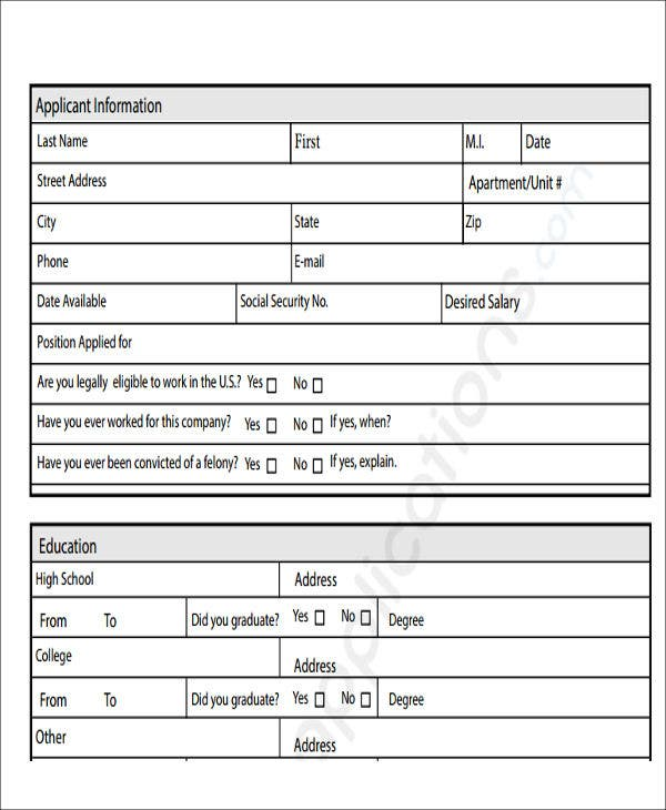 generic job application form in pdf