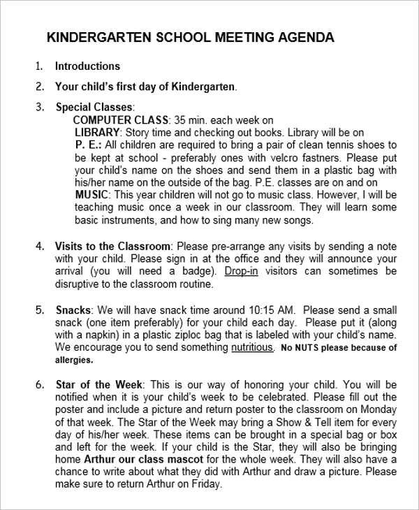 school meeting agenda