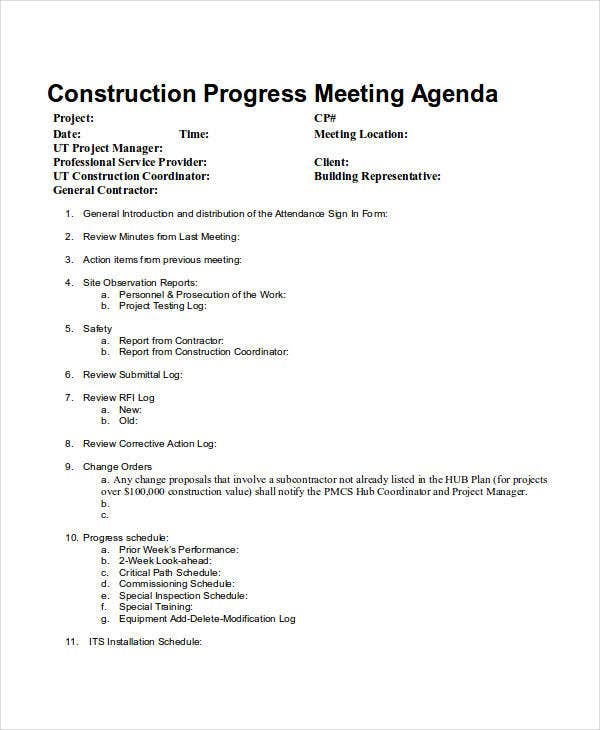 construction meeting agenda