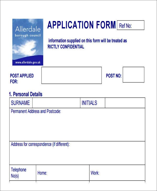 forms for job applications