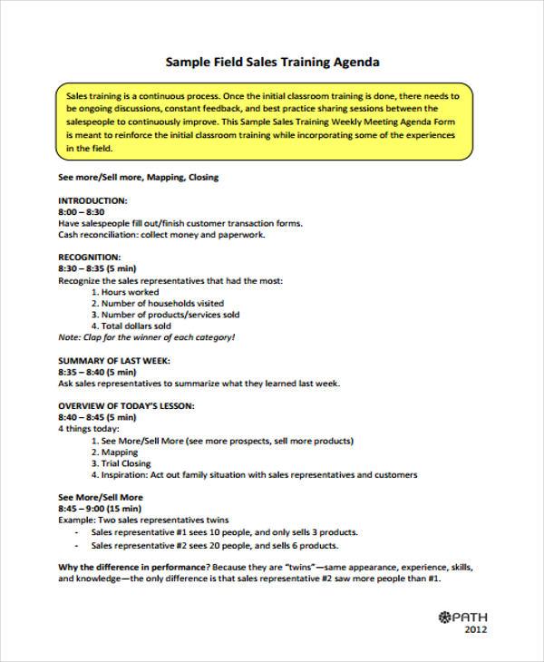 sales training agenda2