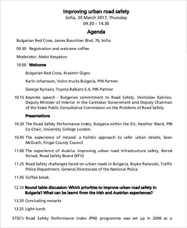 Road Safety Agenda Template