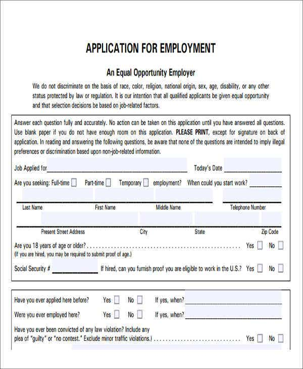 printable blank job application form
