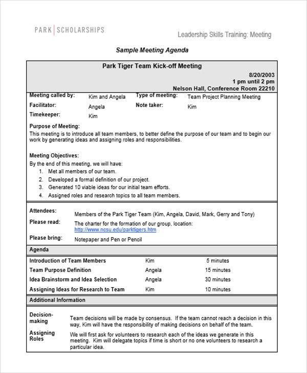 training meeting agenda