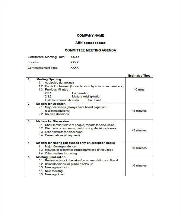 10  meeting agenda samples
