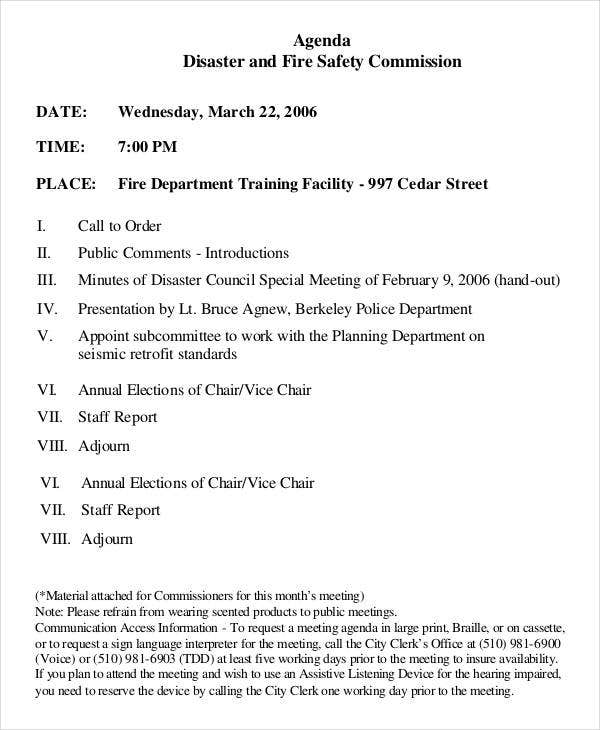 Fire Safety Meeting Agenda Template